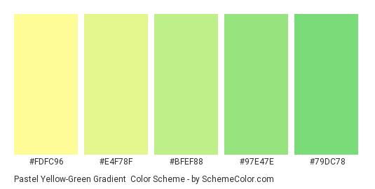 Pastel Yellow-Green Gradient - Color scheme palette thumbnail - #fdfc96 #e4f78f #bfef88 #97e47e #79dc78