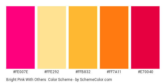 Bright Pink with Others - Color scheme palette thumbnail - #fe007e #ffe292 #ffb832 #ff7a11 #e70040
