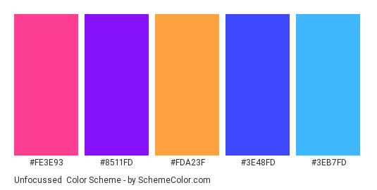 Unfocussed - Color scheme palette thumbnail - #fe3e93 #8511fd #fda23f #3e48fd #3eb7fd