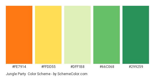 Jungle Party - Color scheme palette thumbnail - #fe7914 #ffdd55 #DFF1B8 #66c068 #299259