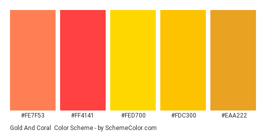 Gold and Coral - Color scheme palette thumbnail - #fe7f53 #ff4141 #fed700 #fdc300 #eaa222