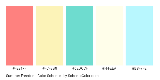 Summer Freedom - Color scheme palette thumbnail - #fe817f #fcf3b8 #6edccf #fffeea #b8f7fe