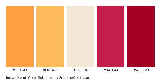 Indian Heart - Color scheme palette thumbnail - #fe9f40 #fdba5b #f3e8d6 #c41e4a #a30023