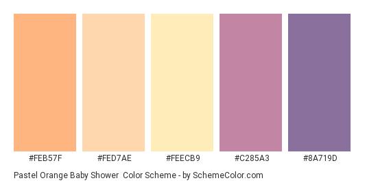 Pastel Orange Baby Shower - Color scheme palette thumbnail - #feb57f #fed7ae #feecb9 #c285a3 #8a719d