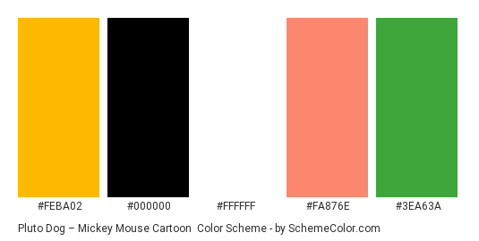 Pluto Dog – Mickey Mouse Cartoon - Color scheme palette thumbnail - #feba02 #000000 #ffffff #fa876e #3ea63a