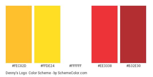 Denny's Logo - Color scheme palette thumbnail - #fec02d #ffde24 #ffffff #ee3338 #b32e30