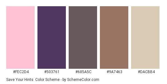 Save your Hints - Color scheme palette thumbnail - #fec2d4 #503761 #685a5c #9a7463 #dacbb4