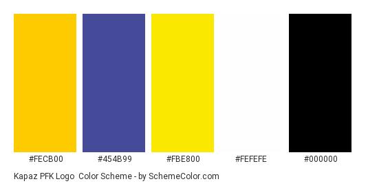 Kapaz PFK Logo - Color scheme palette thumbnail - #fecb00 #454b99 #fbe800 #fefefe #000000