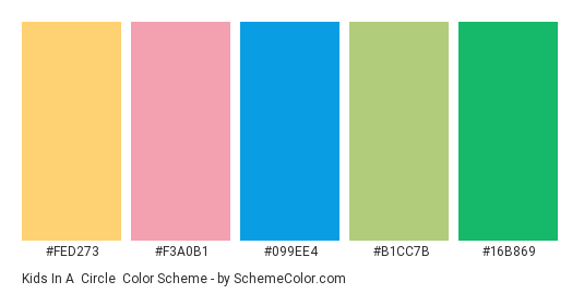 Kids in a  Circle - Color scheme palette thumbnail - #fed273 #f3a0b1 #099ee4 #b1cc7b #16b869