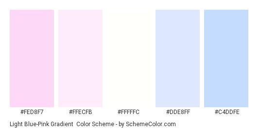 Light Blue-Pink Gradient - Color scheme palette thumbnail - #fed8f7 #ffecfb #fffffc #dde8ff #c4ddfe
