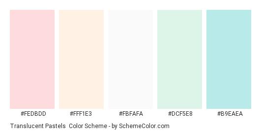Translucent Pastels - Color scheme palette thumbnail - #fedbdd #fff1e3 #fbfafa #dcf5e8 #b9eaea