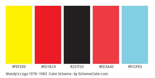 Wendy's Logo 1978–1983 - Color scheme palette thumbnail - #fef200 #ed1b24 #231f20 #ee3a43 #81cfe0