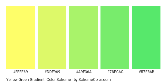 Yellow Green Grant Color Scheme Palette Thumbnail Fefe69 Ddf969 A9f36a