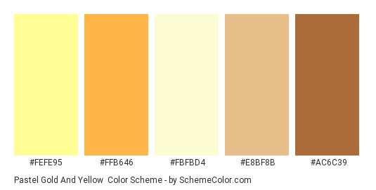 Pastel Gold And Yellow Color Scheme Palette Thumbnail Fefe95 Ffb646 Fbfbd4