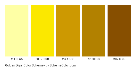 Golden Diya - Color scheme palette thumbnail - #feffa5 #fbe800 #cd9901 #b28100 #874f00