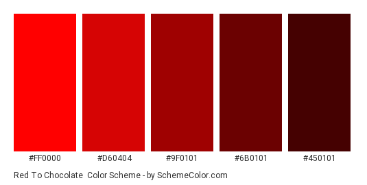 Red to Chocolate - Color scheme palette thumbnail - #ff0000 #d60404 #9f0101 #6b0101 #450101