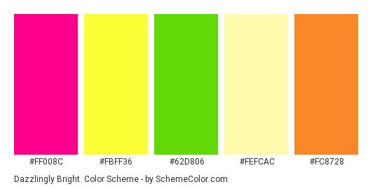 Dazzlingly Bright - Color scheme palette thumbnail - #ff008c #fbff36 #62d806 #fefcac #fc8728
