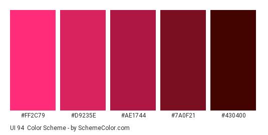 UI 94 - Color scheme palette thumbnail - #ff2c79 #d9235e #ae1744 #7a0f21 #430400