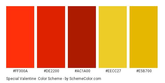 Special Valentine - Color scheme palette thumbnail - #ff300a #de2200 #ac1a00 #eecc27 #e5b700