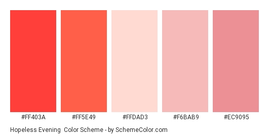 Hopeless Evening - Color scheme palette thumbnail - #ff403a #ff5e49 #ffdad3 #f6bab9 #ec9095