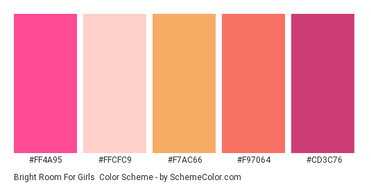Bright Room for Girls - Color scheme palette thumbnail - #ff4a95 #ffcfc9 #f7ac66 #f97064 #cd3c76