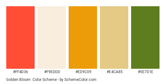 Golden Bloom - Color scheme palette thumbnail - #ff4d36 #f9eddd #ed9c09 #e4ca85 #5e7d1e
