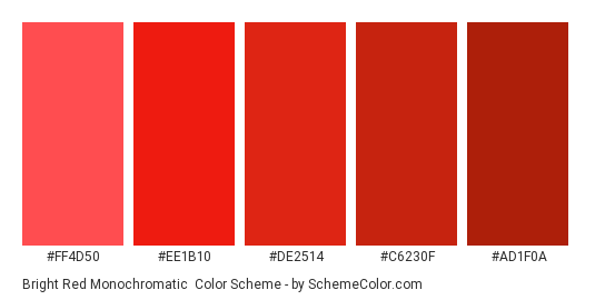 Bright Red Monochromatic - Color scheme palette thumbnail - #ff4d50 #ee1b10 #de2514 #c6230f #ad1f0a