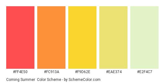 Coming Summer - Color scheme palette thumbnail - #ff4e50 #fc913a #f9d62e #eae374 #e2f4c7
