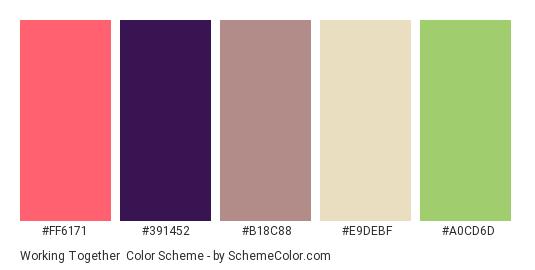 Working Together - Color scheme palette thumbnail - #ff6171 #391452 #b18c88 #e9debf #a0cd6d