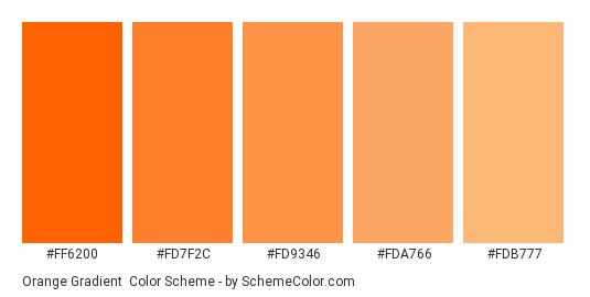 Orange Gradient - Color scheme palette thumbnail - #ff6200 #fd7f2c #fd9346 #fda766 #fdb777