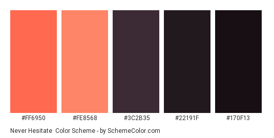 Never Hesitate - Color scheme palette thumbnail - #ff6950 #fe8568 #3c2b35 #22191f #170f13
