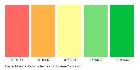 Pastel Mixings - Color scheme palette thumbnail - #ff6961 #ffb347 #fdfd96 #77dd77 #03c03c