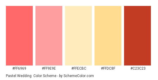 Pastel Wedding - Color scheme palette thumbnail - #ff6969 #ff9e9e #ffecbc #ffdc8f #c23c23
