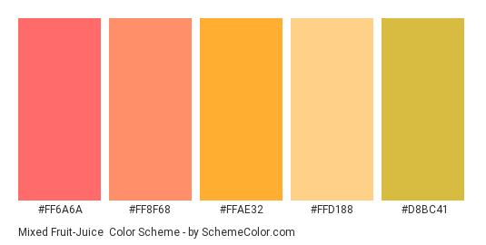 Mixed Fruit-Juice - Color scheme palette thumbnail - #ff6a6a #ff8f68 #ffae32 #ffd188 #d8bc41