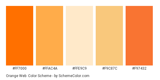 Orange Web - Color scheme palette thumbnail - #ff7000 #ffac4a #ffe9c9 #f9c87c #f97432