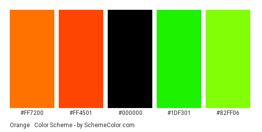 Orange & Green Neon - Color scheme palette thumbnail - #ff7200 #ff4501 #000000 #1df301 #82ff06