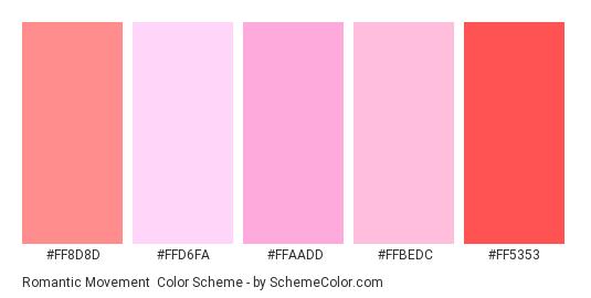 Romantic Movement - Color scheme palette thumbnail - #ff8d8d #ffd6fa #ffaadd #ffbedc #ff5353
