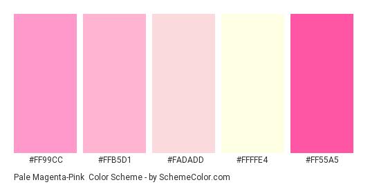 Pale Magenta-Pink - Color scheme palette thumbnail - #ff99cc #ffb5d1 #fadadd #ffffe4 #ff55a5