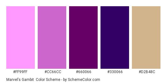 Marvel's Gambit - Color scheme palette thumbnail - #ff99ff #cc66cc #660066 #330066 #D2B48C