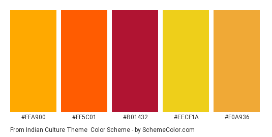 From Indian Culture Theme - Color scheme palette thumbnail - #ffa900 #ff5c01 #b01432 #eecf1a #f0a936
