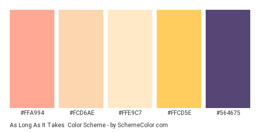 As Long as it Takes - Color scheme palette thumbnail - #ffa994 #fcd6ae #ffe9c7 #ffcd5e #564675