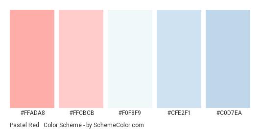 Pastel Red & Blue - Color scheme palette thumbnail - #ffada8 #ffcbcb #F0F8F9 #CFE2F1 #C0D7EA