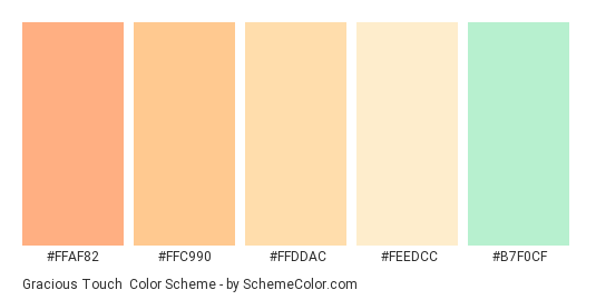 Gracious Touch - Color scheme palette thumbnail - #ffaf82 #ffc990 #ffddac #feedcc #b7f0cf