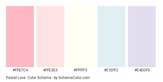 Pastel Love - Color scheme palette thumbnail - #ffb7c4 #ffe3e3 #fffff3 #e1eff2 #e4ddf0