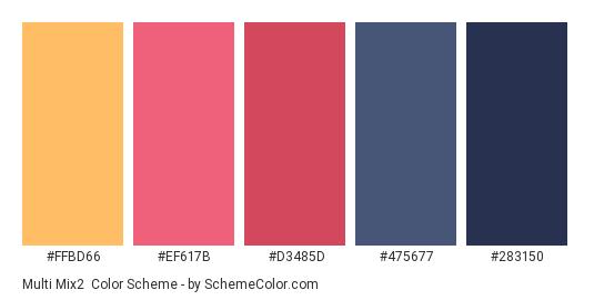 Multi mix2 - Color scheme palette thumbnail - #ffbd66 #ef617b #d3485d #475677 #283150