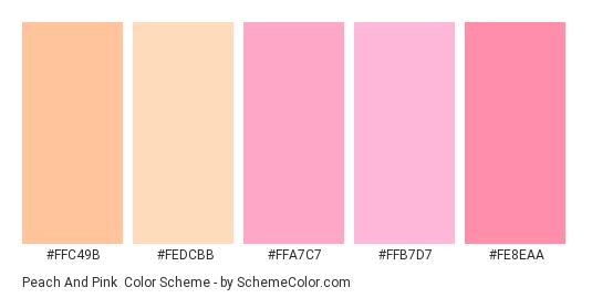 Peach and Pink - Color scheme palette thumbnail - #ffc49b #fedcbb #ffa7c7 #ffb7d7 #fe8eaa