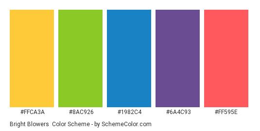 Bright Blowers - Color scheme palette thumbnail - #ffca3a #8ac926 #1982c4 #6a4c93 #ff595e