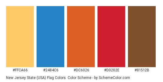 New Jersey State (USA) Flag Colors - Color scheme palette thumbnail - #ffca66 #2484c6 #dc6026 #d0202e #81512b