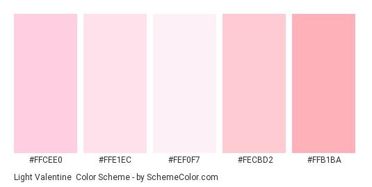 Light Valentine - Color scheme palette thumbnail - #ffcee0 #ffe1ec #fef0f7 #fecbd2 #ffb1ba