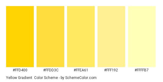 Yellow Gradient - Color scheme palette thumbnail - #ffd400 #ffdd3c #ffea61 #fff192 #ffffb7